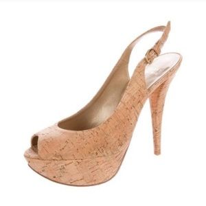 Stuart Weitzman Cork Peep Toe Platform Heels